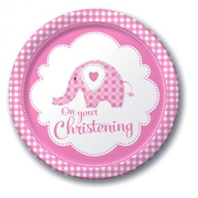Pink Christening Paper Plates - Elephant