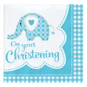 Pale Blue Christening Napkins - Elephant