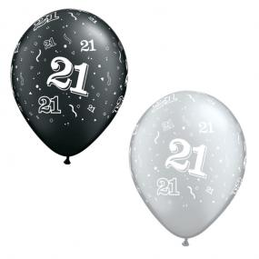 21st Birthday Black and Silver Latex Balloons x 25
