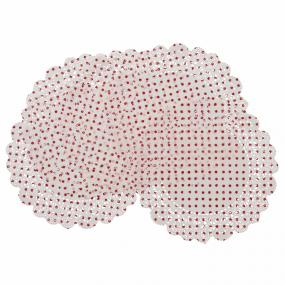 Red and White Spot Christmas Doilies