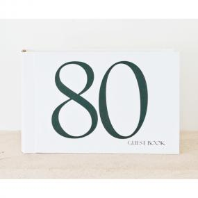 Black and White 80th Birthday Guest Book