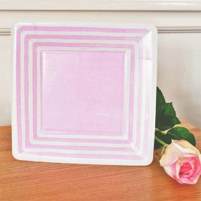 Pale Pink Stripe Paper Side Plates by Caspari