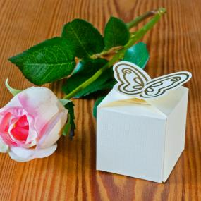 Ivory and Gold Butterfly Favour Box