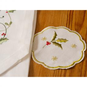 Holly Design Linen Christmas Coasters x 4 - Snowfall