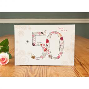 Vintage Style 50th Birthday Guest Book