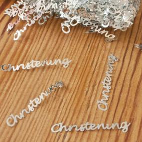 Silver Christening Table Confetti