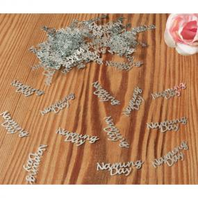 Silver Naming Day Table Confetti