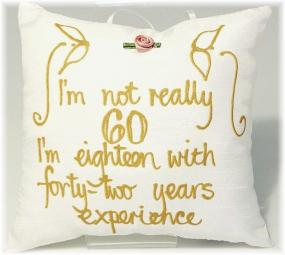 60th Birthday Hand Painted Pillow by Adornment
