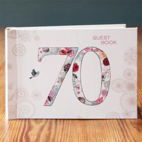 Vintage Style 70th Birthday Guest Book