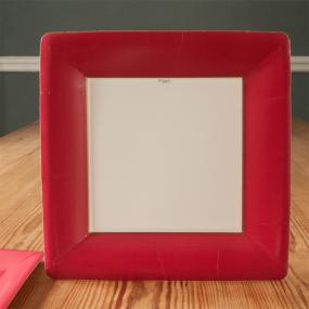 Square Red Paper Dinner Plates by Caspari