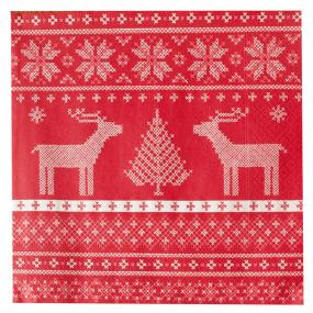 Red Reindeer Design Christmas Dinner Napkins - Helene
