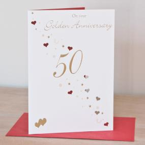 50th Golden Wedding Anniversary Card - Hearts