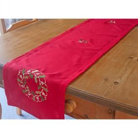 Red Extra Long Christmas Table Runner - Holly Wreath