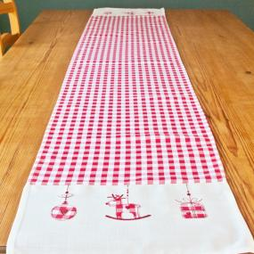 Red and White Gingham Christmas Table Runner - Rocking Horse