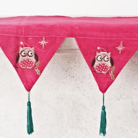 Owl Red Velvet Christmas Mantle Runner - Twit Twoo
