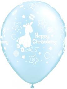 Pale Blue Christening Balloons x 6