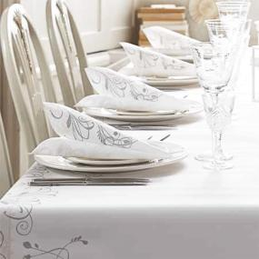 Celebration White and Silver Linen Feel Dinner Napkins
