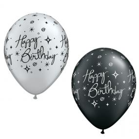 Black And Silver Happy Birthday Balloons X 25