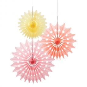 Pastel Paper Fans x 3