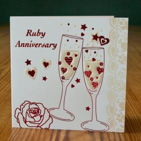 40th Ruby Wedding Anniversary Invitations - Champagne x 5