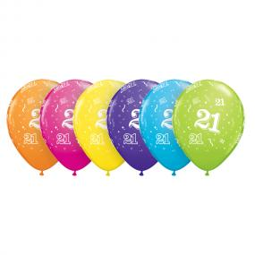 21st Birthday Latex Balloons Assorted Colours x 6