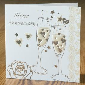 25th Silver Wedding Anniversary Folded Invitations x 5 - Champagne