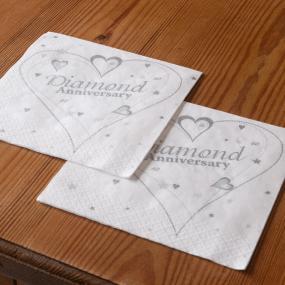 2 Ply Diamond Anniversary Luncheon Napkins - Hearts