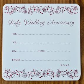 Ruby Wedding Anniversary Invitations - Single Sided