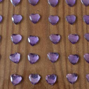 Lilac Self Adhesive Hearts