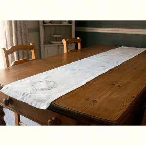 Embroidered White and Silver Christmas Table Runner - Leaf Wreath