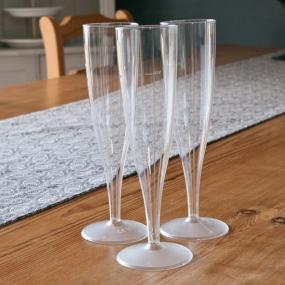Clear Plastic Champagne Glasses x 10