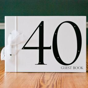 Large Black and White 40th Birthday Guest Book