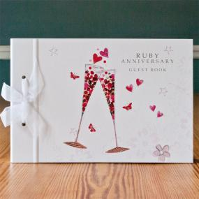Large Ruby Wedding Anniversary Guest Book - Champagne