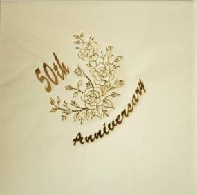 Cream 50th Golden Anniversary Luncheon Napkins