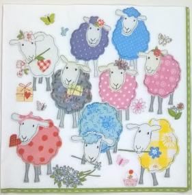 Multi Coloured Patchwork Sheep Napkins - Luncheon Size