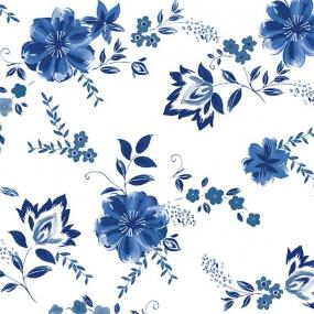 Blue Flower Linen Feel Dinner Napkins