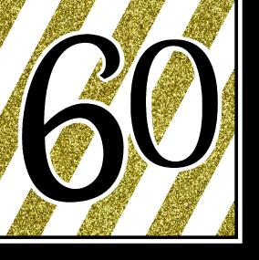 Black, White and Gold 60th Birthday Luncheon Napkins