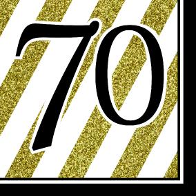 Black, White and Gold 70th Birthday Luncheon Napkins