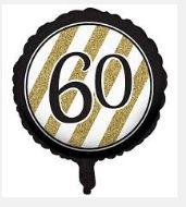 60th Birthday Foil Balloon - Black, Gold and White
