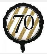70th Birthday Foil Balloon - Black, Gold and White