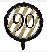 90th Birthday Foil Balloon - Black, White and Gold