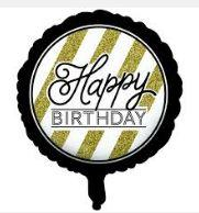 Happy Birthday Foil Balloon - Black, White and Gold