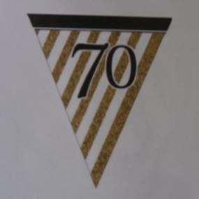 70th Birthday Paper Bunting - White, Black and Gold