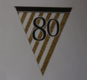 80th Birthday Paper Bunting - White, Black and Gold