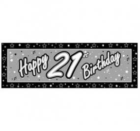 21st Birthday Giant Banner - Black and Silver