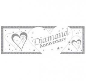 60th Diamond Wedding Anniversary Giant Banner - Hearts and Stars
