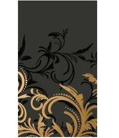 Gold and Black Scroll Celebration Linen Feel Tablecloth