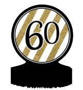 60th Birthday Black, Gold and White Table Decoration