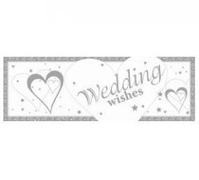 Silver and White Wedding Giant Banner - Hearts and Stars