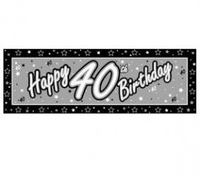 40th Birthday Giant Banner - Black and Silver